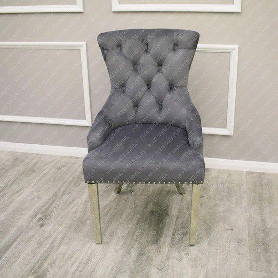 Megan Velvet Chair with Plain Back & Lion Knocker