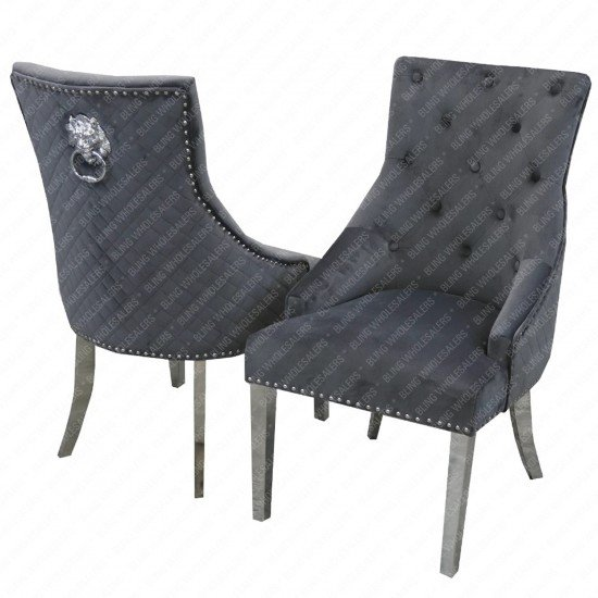 Emma Dining Chair with Lion Knocker & Quilted Back