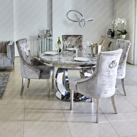 Karla 1.3m Round Marble Dining Table with 4 Duke plain Knocker back chairs