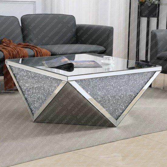 Keva Crushed Diamond Modern Square Coffee Table