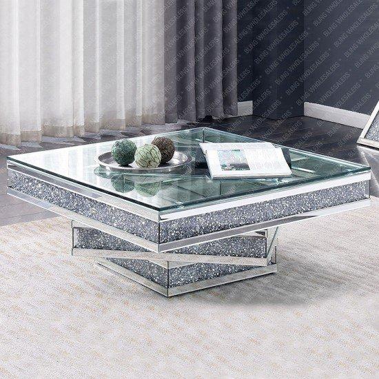 Keva Crushed Diamond Mirrored Square Coffee Table