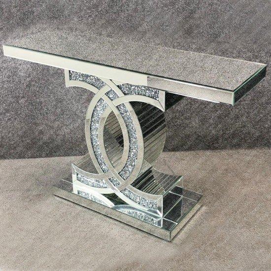 Keva Crushed Diamond Mirrored CC Console Table