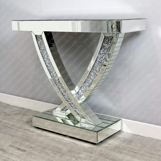 Keva Crushed Diamond Mirrored Swift Console Table