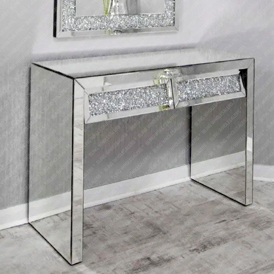 Keva Crushed Diamond Dressing Table / Console Desk with 2 Drawers