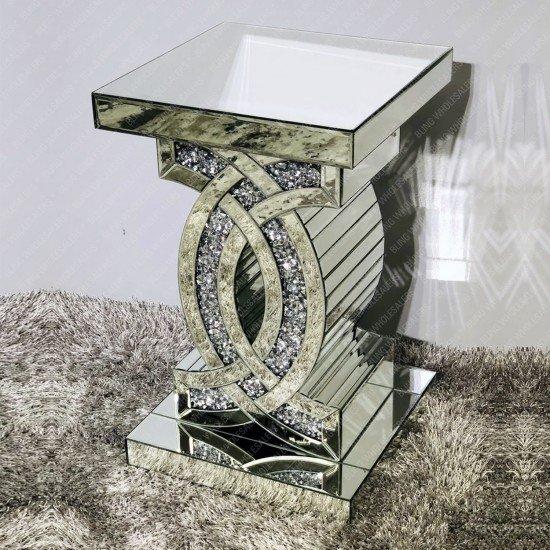 Keva Mirrorred Crushed Diamond CC Side Table (Pedestal)