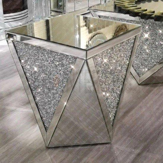 Keva Mirrorred Crushed Diamond Octagon Side Table (Pedestal)
