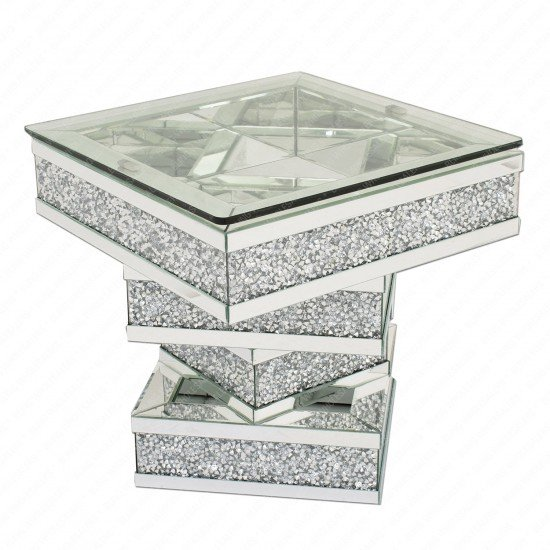 Keva Crushed Diamond Mirrored Square Side/End Table