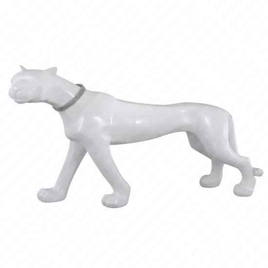 Myra White Standing Panther for Home Decoration
