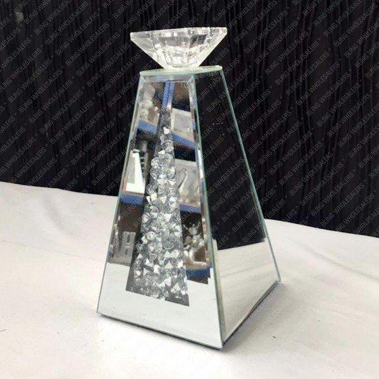 Myra Crushed Diamond Mirrored Pyramid Candle Holder