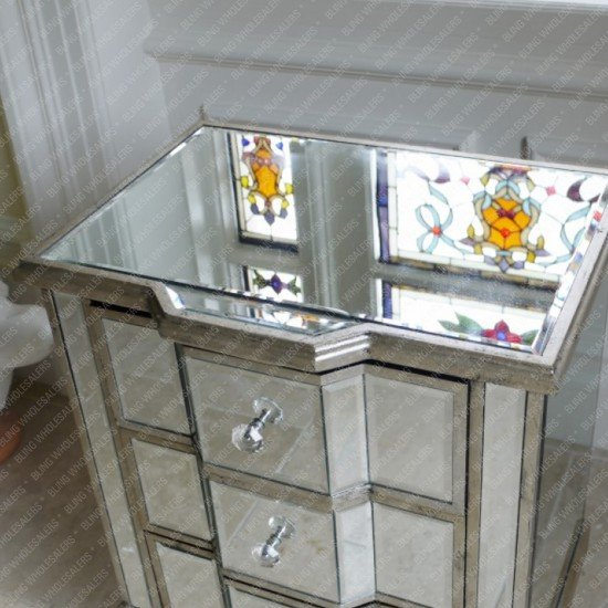 Nomi Mirrorred Bedside with 3 drawers