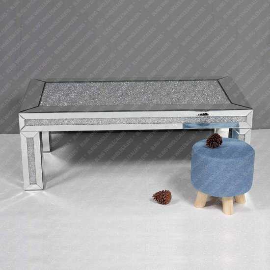 Nova Crushed Diamond Mirrored Rectangle Coffee Table