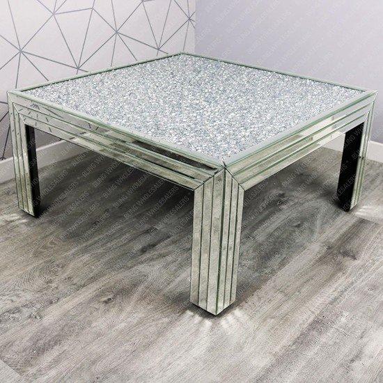 Nova Crushed Diamond Square Coffee Table (Striped)