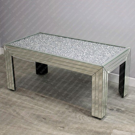 Nova Crushed Diamond Rectangular Coffee Table (Striped)