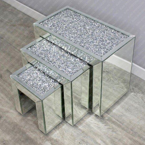 Nova Diamond Crush Nest of Side Tables