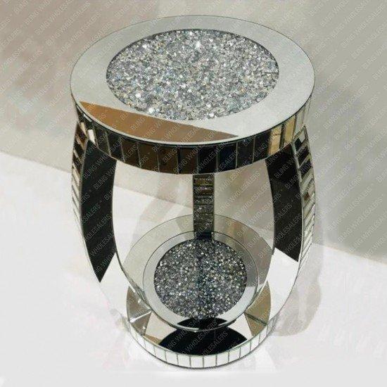 Nova Crushed Diamond Mirrored 2 Tier Round End Table