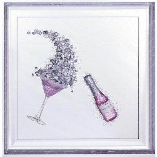Tove 3D Jewelled Pink Champagne Bottle & Glass Frame