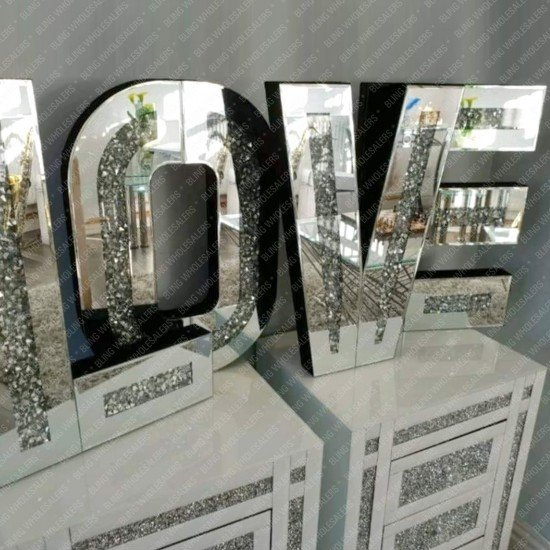 Tove Crushed Diamond Mirrored Love Letters